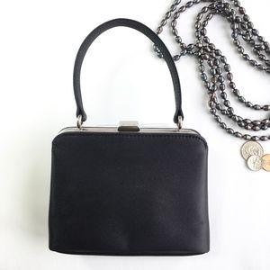 Vintage 80s ESPRIT Black Satin Purse Evening Bag